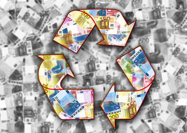 bankovky, recyklační trojúhelník, šipky
